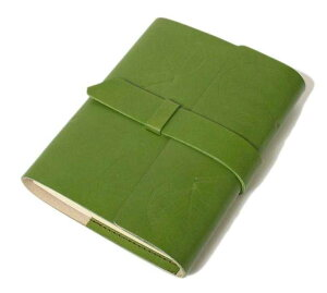 高級本革製ノートカバーフラップタイプ(リフィルノート付)【Impresso】Sサイズpeagreen(緑色)