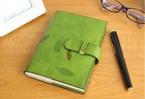 高級革製ノートカバー(リフィルノート付)【Impresso】16×12cm(Sサイズ)グリーン(緑色)
