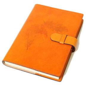 高級本革製ノートカバー(リフィルノート付)【Impresso】21×14.5cm(M・A5サイズ)mandarin(オレンジ)