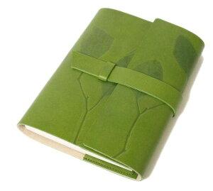 高級本革製ノートカバーフラップタイプ(リフィルノート付)【Impresso】21×14.5cm(M・A5サイズ)・pea_green(緑色)
