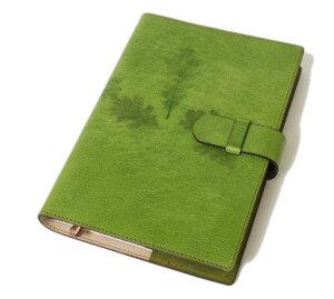 高級本革製ノートカバー(リフィルノート付)【Impresso】21×14.5cm(M・A5サイズ)peagreen(緑色)