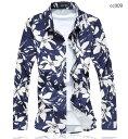 メンズ 長袖 花柄シャツ お洒落 美品 シャツ カジュアルシャツ 大きいサイズもあり 2色【M〜7XL】