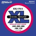【エントリーでポイント10倍】D'Addario 45-130 EXL170-5 Regular Light 5弦セット[ダダリオ][レギュラーライト][5strings][Nickel Round Wound,ニッケルラウンドワウンド][ベース弦,String]