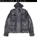 フィリッププレイン PHILIPP PLEIN メンズ アウター ジャケット ブルゾン ロゴ入りラムスキンレザージャケット ブラック WVN13 HM210028 02 13A
