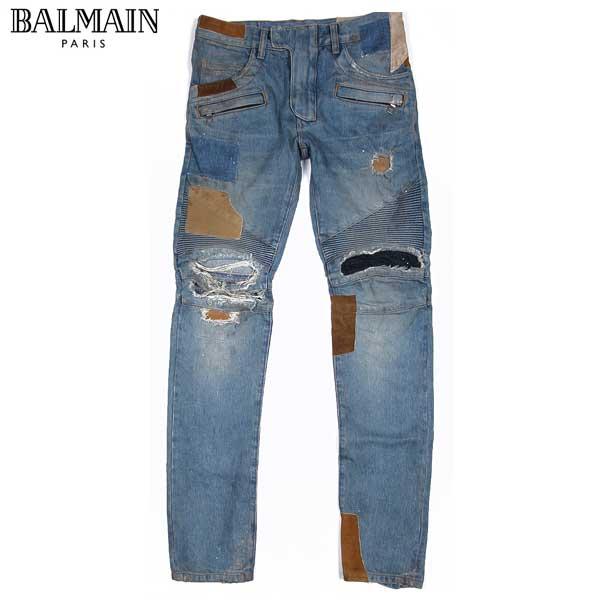 【送料無料】 バルマン(BALMAIN) メンズ ライダースデニム ジーンズ バイカーズ S5HT500 C162D 155 【楽ギフ_包装】【smtb-TK】 15S