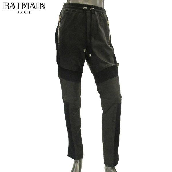 【送料無料】 バルマン(BALMAIN) メンズ パンツ スウェット 切り替えデザイン レザー S8H 5180 P160 176 NOIR/BLACK 【楽ギフ_包装】 【smtb-tk】 81S