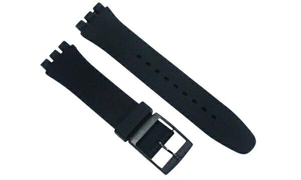 スウォッチ SWATCH 対応 ベルト 19mm用 シリコンラバーベルト ホールレス 黒 SWK19BK 交換工具付属 (社外品)