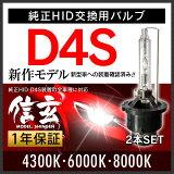 【】HIDバルブ D4S 4300K 6000K 8000K 選択式 モデル信玄 純正HID交換用バルブ 完全水銀レス