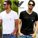 アルマーニ tシャツ エンポリオアルマーニ EMPORIO ARMANI ロゴ Vネック 半袖 Tシャツ Tシャツ ブランド メンズ ティーシャツ コットン ストレッチ  EA110810CC716