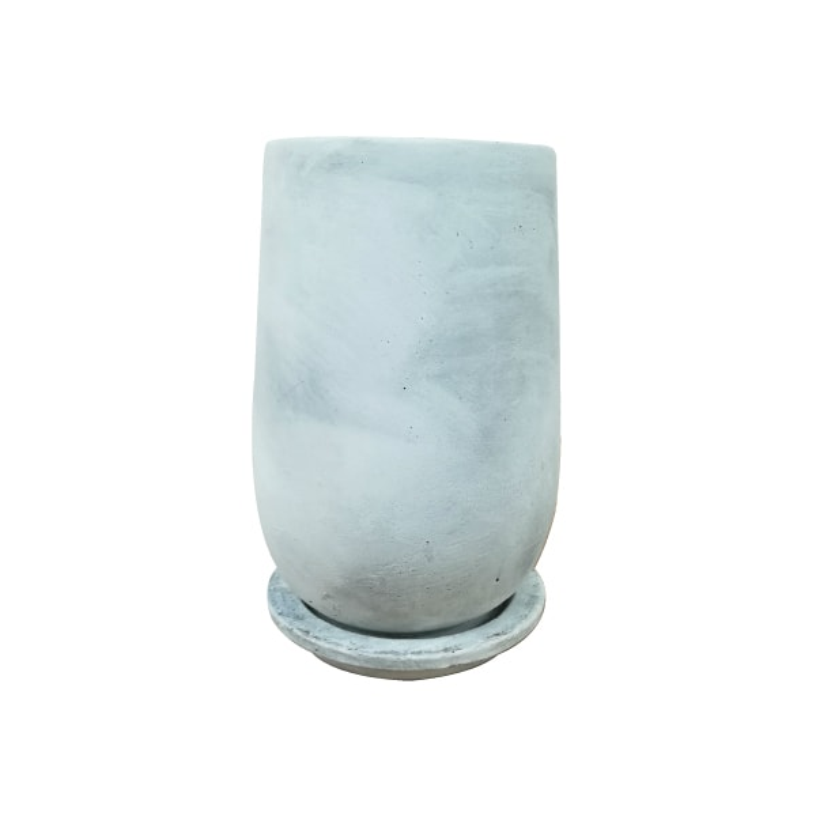 植木鉢 おしゃれ セメントラウンドポット MM060-200 4.5号(13.5cm) / 陶器鉢 白 黒 コンクリート