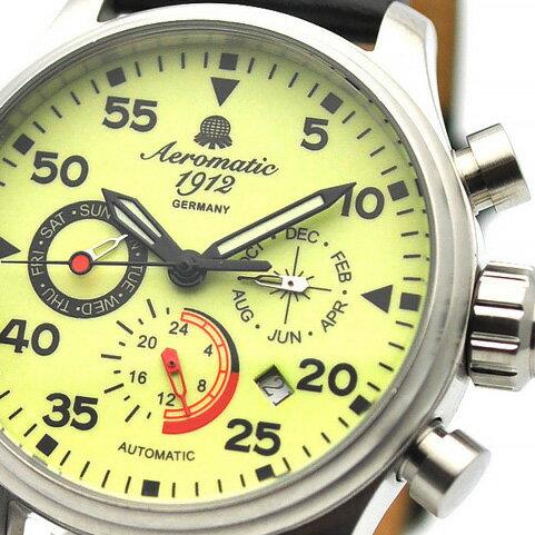 Aeromatic 1912 エアロマティック 1912 エアロマチック 1912 自動巻き 腕時計 メンズ パイロットウォッチ [A1419] 並行輸入品 メーカー保証24ヶ月&純正ケース付き メンズウォッチ デカ厚 多機能 腕時計/夜行表示/防水機能 防水時計/カレンダー デイト