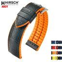 HIRSCH ヒルシュ ANDY(アンディ) 4色 腕時計ベルト アリゲーター型押 カウチューク(天然ゴム) 18mm/20mm/22mm/24mm