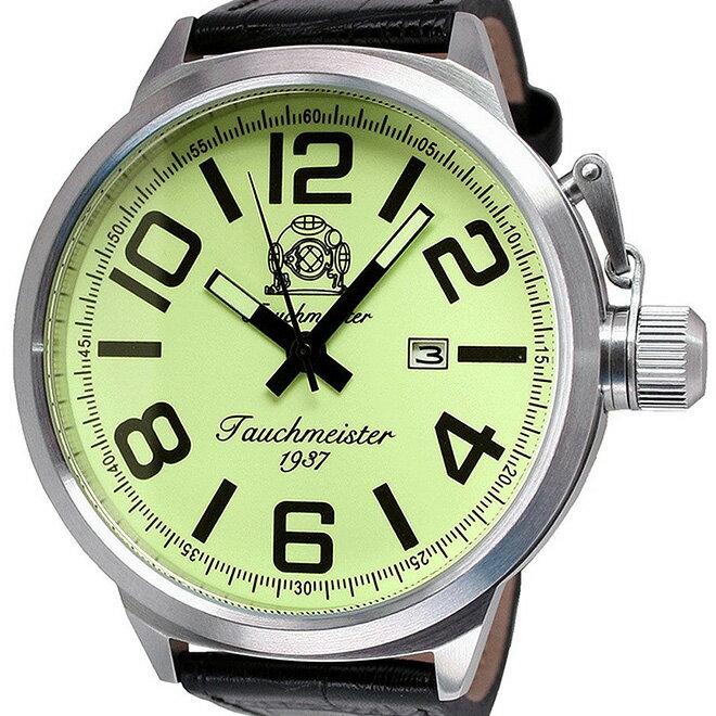 Tauchmeister 1937 トーチマイスター 1937 クォーツ 腕時計 メンズ ダイバーズウォッチ [T0290] 並行輸入品 メーカー保証24ヵ月 収納ケース付き メンズウォッチ デカ厚 多機能 腕時計/夜行表示/カレンダー デイト