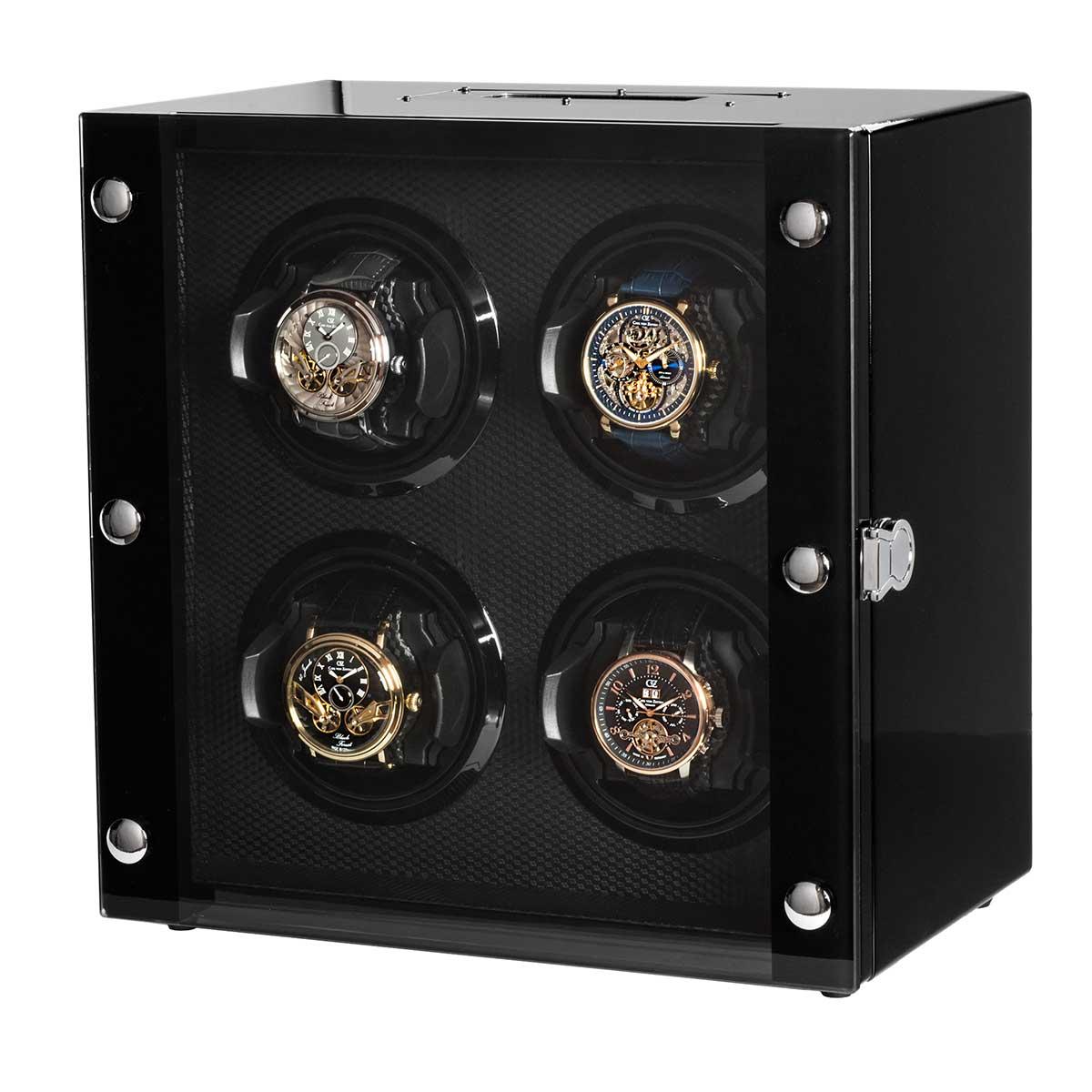 ウォッチワインダー ワインディングマシーン ROTHENSCHILD/ローテンシルト 収納本数:4本 [ RS-2108-BK ] 並行輸入品 ドイツ製 腕時計ワインダー 自動巻腕時計用 本体カラー:ブラック(黒色) 内側色:ブラック