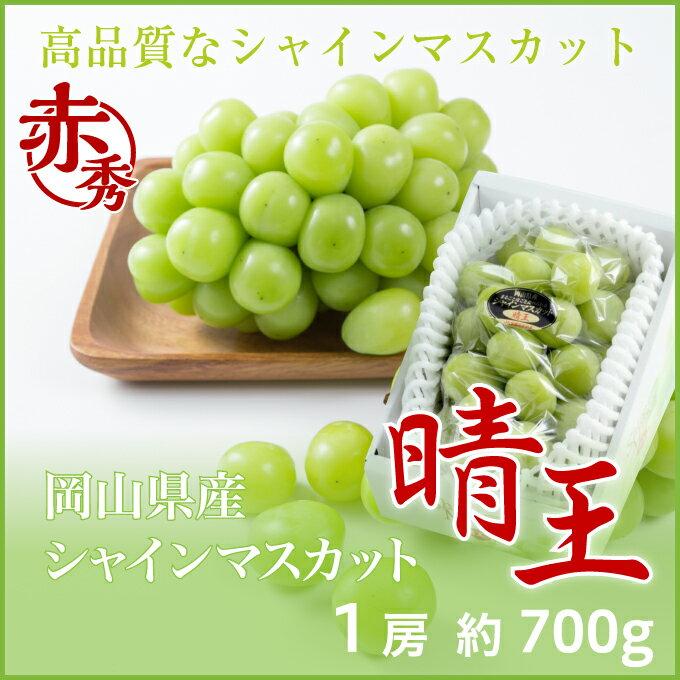 シャインマスカット  晴王  岡山県産 JAおかやま 赤秀 約700g×1房 送料無料 ぶどう 葡萄 ブドウ