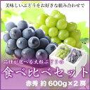 (品種が選べる) 岡山県産 『大粒ぶどうの食べ比べセット』秀品 大2房(約600g×2) 化粧箱入り  (贈り物 ギフト)
