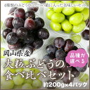 岡山県産 【品種が選べる】『大粒ぶどうの食べ比べセット』(約200g×4パック)