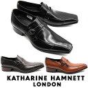 キャサリンハムネット メンズ 靴 ビジネスシューズ 革靴 紳士靴 本革 サイドストラップ スリッポン レザーシューズ KATHARINE HAMNETT 31591 ブラック ダークブラウン