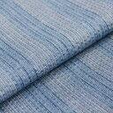【送料無料】国内手縫い 阿波しじら織木綿きもの 単衣仕立て《仕立代込み》 空色に縦縞模様 No.105 【受注生産】