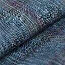 【送料無料】国内手縫い 阿波しじら織木綿きもの 単衣仕立て《仕立代込み》 紺青絣に赤黄極細縞 No.62 【受注生産】