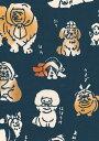 手ぬぐい 梨園染め「てぬぐい犬 1050」《戸田屋商店》ほっかむり/イヌ/動物/アニマル/紺地/手拭い/てぬぐい【メール便OK】【TD】