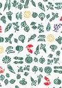 手ぬぐい 梨園染め「野菜と果物 636」《戸田屋商店》小紋/影絵風/白地/グリーン/手拭い/てぬぐい【メール便OK】【TD】
