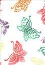 手ぬぐい 梨園染め「蝶(ちょう) 692」《戸田屋商店》紅型調/白地/蝶々/チョウ/カラフル/手拭い/てぬぐい【メール便OK】【TD】