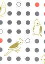 手ぬぐい 梨園染め「オカメインコ 894」《戸田屋商店》白地/小鳥/水玉/手拭い/てぬぐい【メール便OK】【TD】