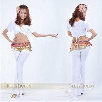 【クリックポスト便送料無料】ベリーダンス 衣装 ヒップスカーフ ゴールドコイン ラインストーン 全10色
