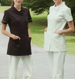 LH6222 ナガイレーベン Naway レディース ナースウェア 上衣 半袖白衣(白衣 女性 医療 ナース服 チュニック オフホワイト チャコール レディース 女性用 白衣 通販 楽天 白衣ネット)