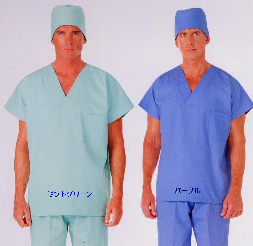 カゼン (KAZEN) スクラブ 半袖 M〜4L136-72.79ドクター手術衣 オペ着