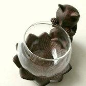 花瓶 花器 ガラスベース フラワーベース 置物 猫 ねこ オブジェ インテリア雑貨 アジアン雑貨子ネコのミニベース