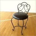 アイアンチェアー椅子いすレザー革アンティーク風レトロクラシックヨーロピアンおしゃれデザインパソコンチェアデスクチェアダイニングチェアインテリアシンプルエレガント背もたれ付きアイアン家具送料無料アイアンとレザーのイス B