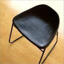 本革スツール デザイン レザースツール 本革椅子 スリム 軽量 アイアン アンティーク