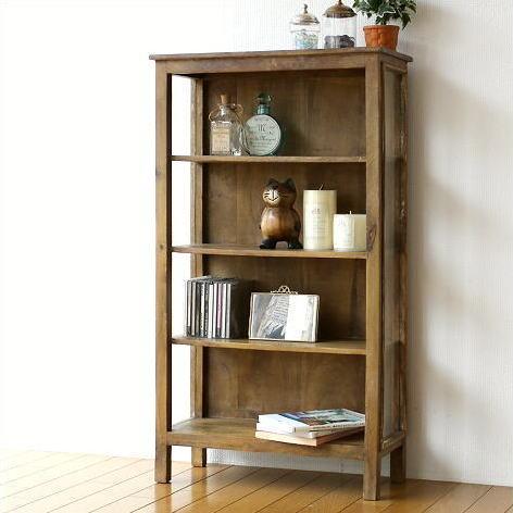 飾り棚 シェルフ 木製 ウッドラック ウッドシェルフ 文庫本本棚 スリム サイドガラスの4段シェルフ