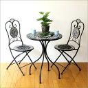 ガーデンテーブル ガーデンチェア セット アイアン おしゃれ ガーデンテーブル&チェアーセット ブラックローズ