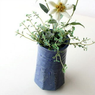 和陶器ベース青釉ソギ花入れ