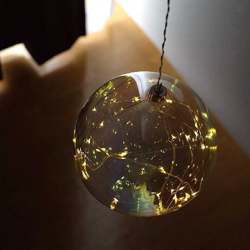 LEDライト ガラス オーナメント 飾り 装飾 オブジェ 吊り下げ ハンギングライト インテリア 部屋 リビング 電飾 イルミネーション キラキラ 可愛い デザイン ハンギングLEDライト パールライト