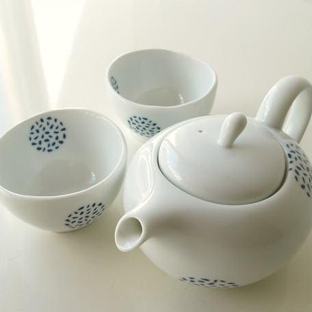 美濃焼急須セット陶器きゅうす大おしゃれかわいい湯呑み湯のみ煎茶碗ティーポット茶器セット和風洋風和食器洋食器粒丸紋ポット煎茶碗付き