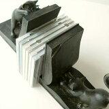 本立てブックエンドネコブックスタンドねこおしゃれアンティーク風デザインインテリア猫雑貨猫置物CDスタンドディスプレイかわいいオブジェ黒猫プレゼントアジアン雑貨エスニックギフト贈り物ネコのブックエンド