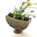 花瓶 陶器 フラワーベース 和風 おしゃれ 花器 日本製 瀬戸焼 灰釉三つ切輪立花入れ