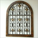 飾り窓壁掛けインテリア壁飾りウッド中世ヨーロッパヨーロピアンアンティーク窓飾りシャビー城キャッスルインテリアシャビーなウッドの飾り窓 B