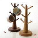 カップスタンド ツリー 木 マグカップ コーヒーカップ スタンド 木製 天然木 無垢材 ウォールナット/オーク ウッドカップツリー 2タイプ