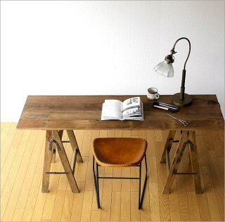 フォールディングテーブル作業机パソコンデスク木製シャビーシックレトロ家具アンティーク風スリムロングディスプレイテーブル什器折りたたみ作業テーブルおしゃれ幅150×奥行42×高さ70フォールディングテーブル