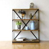 飾り棚 おしゃれ 木製 アイアン オープンラック 本棚 ディスプレイラック レトロ アンティーク シャビーシックなスリム4段シェルフ
