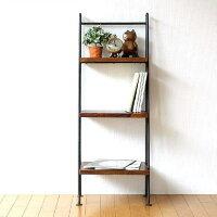 ラダーラック 棚 木製 飾り棚 おしゃれ ディスプレイラック アイアンとシーシャムの3段ラダーシェルフ