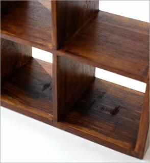 木製ディスプレイラックCDラック飾り棚シンプル天然木無垢材収納棚シェルフインドエスニック和モダンアジアン家具シーシャムウッドフリー棚ミニ6