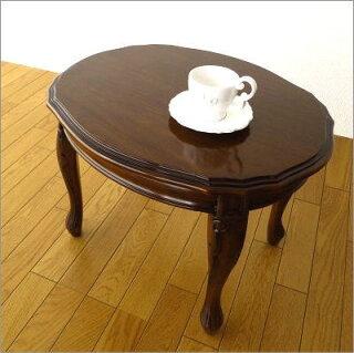 マホガニーオーバルローテーブル猫脚(1)