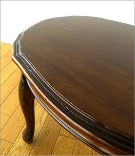 マホガニーオーバルローテーブル猫脚(2)