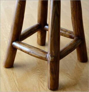 チーク原木スツールS(アジアン家具チーク材木製イス)